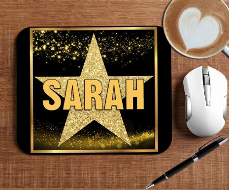 Personalised Star Sparkle Mouse Pad PC Computer Mat - Any Text N12